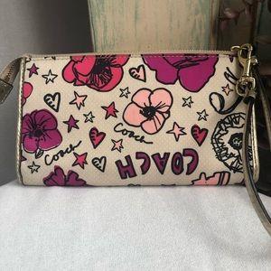 COACH Poppy Floral Graffiti Wristlet Wallet Clutch